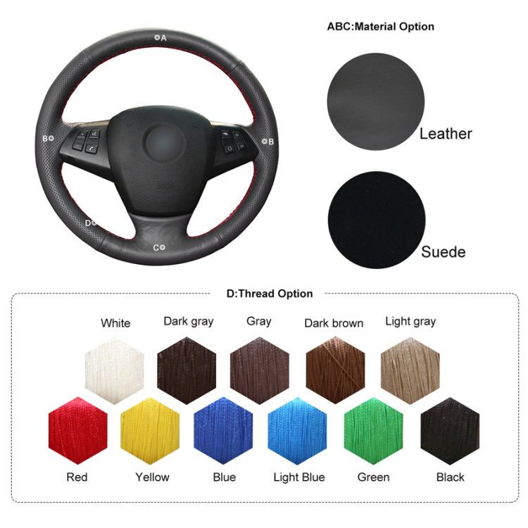 Black Leather Steering Wheel Cover for BMW E70 X5 2008-2013 #18#