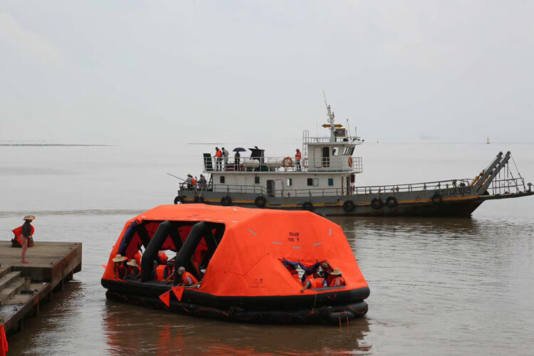 self-inflating life raft application