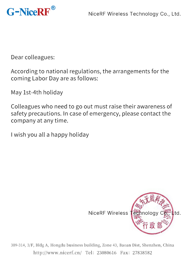 Labor Day Holiday Notice By NiceRF