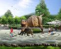 Square dinosaur landscape design